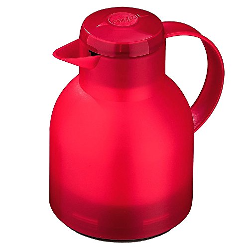 (Emsa Samba, Quick Press, Vacuum Insulated Thermal Carafe, 34 oz, Translucent Red)