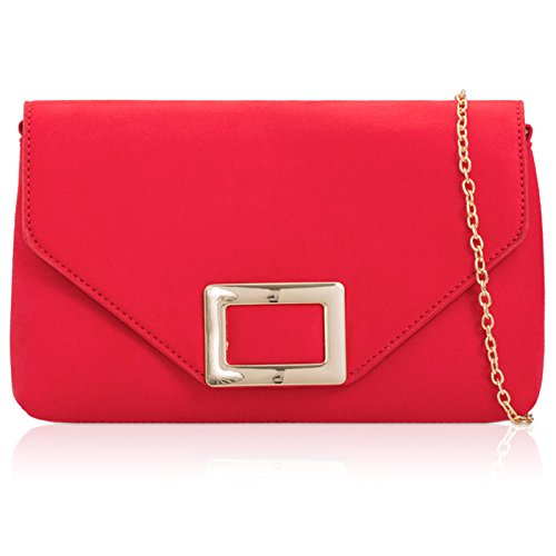 Women Faux with Leather Clutch Suede Emblem Party Square London Over Flat Handbag Xardi Bag Flap Red x5qt0Iw