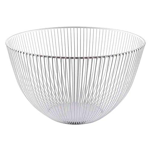Tpingfe Metal Wire Fruit Basket - Kitchen Countertop Fruit Bowl Vegetable Holder Decorative Stand for Bread, Snacks, Households Items Storage (White)