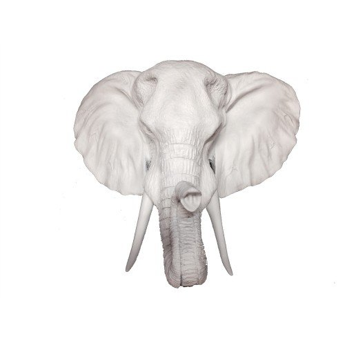 Elephant Deco Art (Fake White Elephant Head | Faux Taxidermy | Fake Resin Elephant Head Mount | Faux Taxidermy Studio (White))