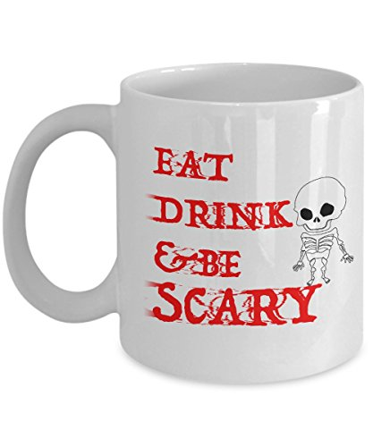 Eat Drink And Be Scary Mug, Funny Coffee Mugs Best Halloween Costumes Holiday Gifts Idea for men women kids
