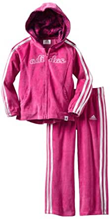 adidas Baby-Girls Infant Itg Pirouette Princess Velour 2-Piece Jacket Set, Dark Pink, 9 Months