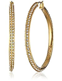 Vince Camuto Gold and Crystal Hoop Earrings