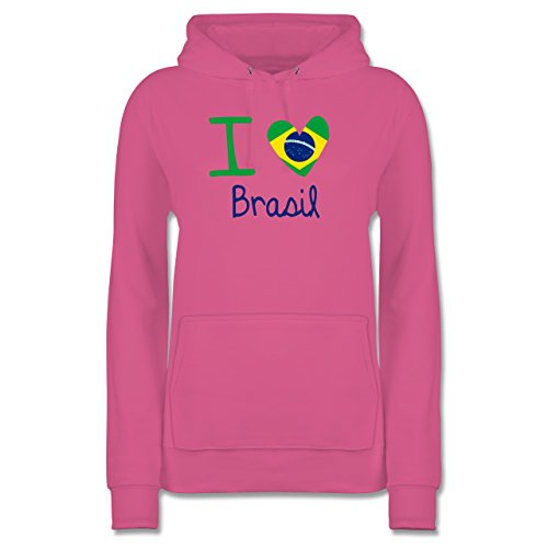 Shirtracer Länder - I Love Brasil - Damen Hoodie Rosa K4Pzesi9g9