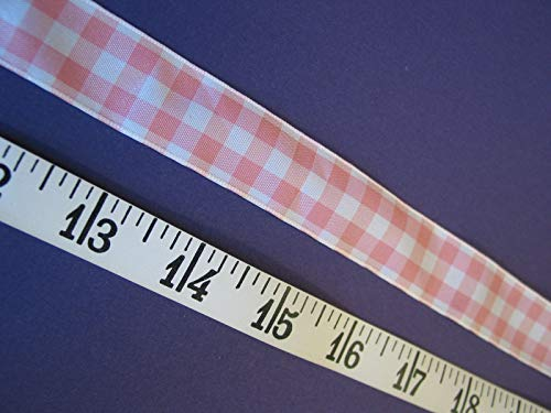 Ribbon Peach White Gingham Check 7/8 W 6 Yds