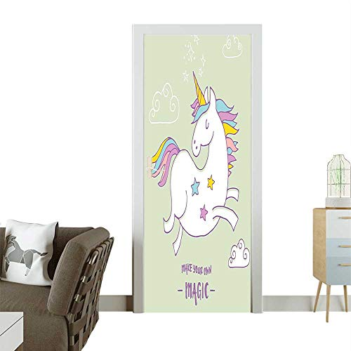 3D Door Decals Happy Unicorn s Ey See Hope Mythical Power Graphic Green White Self Adhesive Door DecalW31 x H79 INCH -