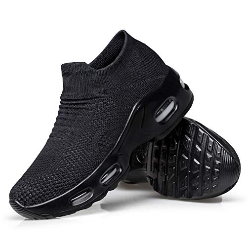 YHOON Women's Slip On Walking Shoes Breathable Lightweight Mesh Casual Running Jogging Sneakers Air Cushion All Black,9.5