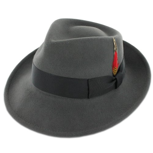 (Belfry Gangster 100% Wool Stain-Resistant Crushable Fedora in 5 Sizes and 4 Colors Grey Small)