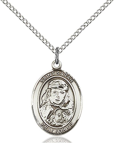 Patron Saints by Bliss Sterling Silver Saint Sarah Medal Pendant, 3/4 Inch