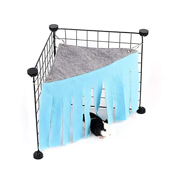 DOGIDOLI Sky Blue, Pink, Purple, Green & Strawberry Red Guinea Pig Hideout, Corner Fleece Forest Hideaway for Guinea Pigs, Ferrets, Chinchillas, Rats, Bunny & Other Small Animals Without Metal Fences 1