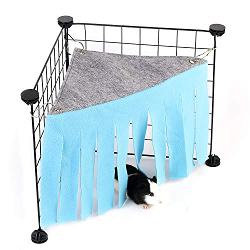 DOGIDOLI Sky Blue Guinea Pig Hideout, Corner Fleece Forest Hideaway for Guinea Pigs, Ferrets, Chinchillas, Gerbils, Dwarf Rabbits & Other Small Animals ()