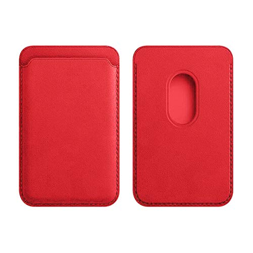 Compatible with Leather Wallet iPhone 12/Pro/Max/Mini, with MagSafe Magnetic RFID Card Holder, Card Holder with Magnet for Phone (Red)