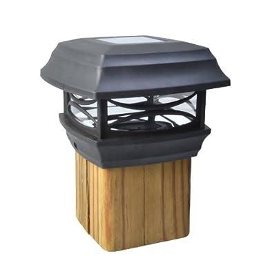 Moonrays 91254 Solar LED Cap Lamp 4x4 Wooden Posts (Black), 4-Inch