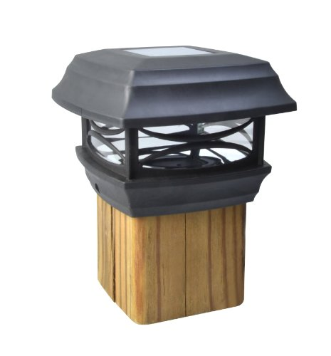 (Moonrays 91254 Solar LED Cap Lamp 4x4 Wooden Posts (Black), 4-Inch)