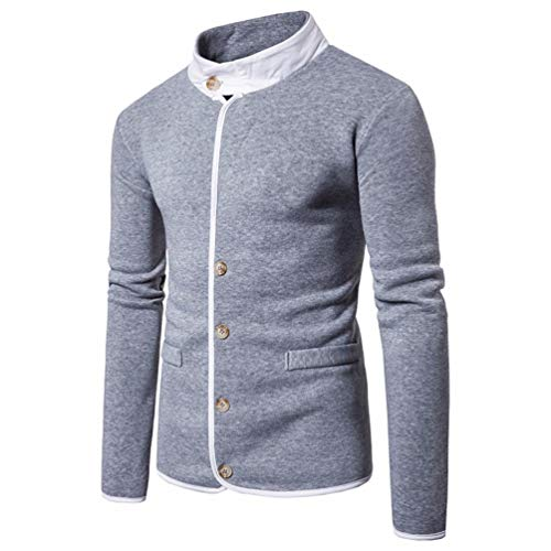 FORUU Men's Long Sleeve Button Sweatshirt Tops Stand Collar Jacket Coat Outwear ()