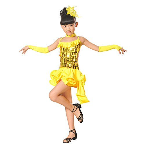 Kehen Toddler Kids Girls 1920s Gatsby Sequin Embellished Fringed Flapper Latin Dress Yellow 6-7T