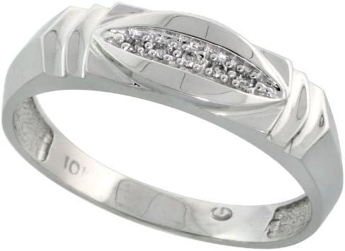 6mm Sterling Silver Mens Diamond Band w// 0.03 Carat Brilliant Cut Diamonds Size 14 wide 1//4 in.