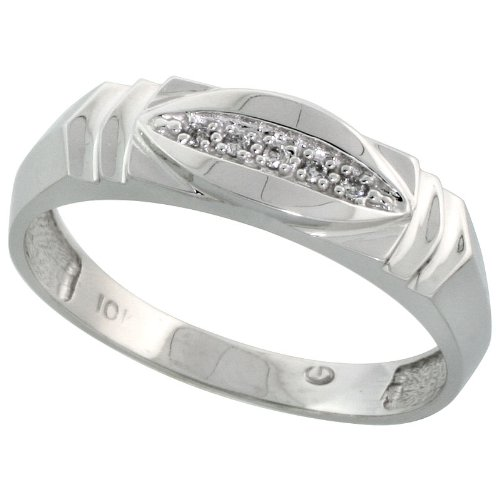 w// 0.03 Carat Brilliant Cut Diamonds Size 13 1//4 in. wide Sterling Silver Mens Diamond Band 6mm