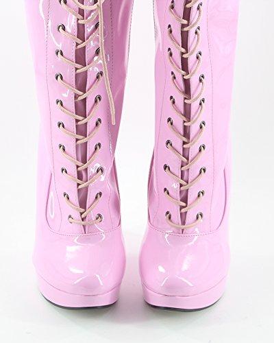 Wonderheel Keilabsatz Lackleder pink fetisch Schnürsenkel Langschaft stiefel