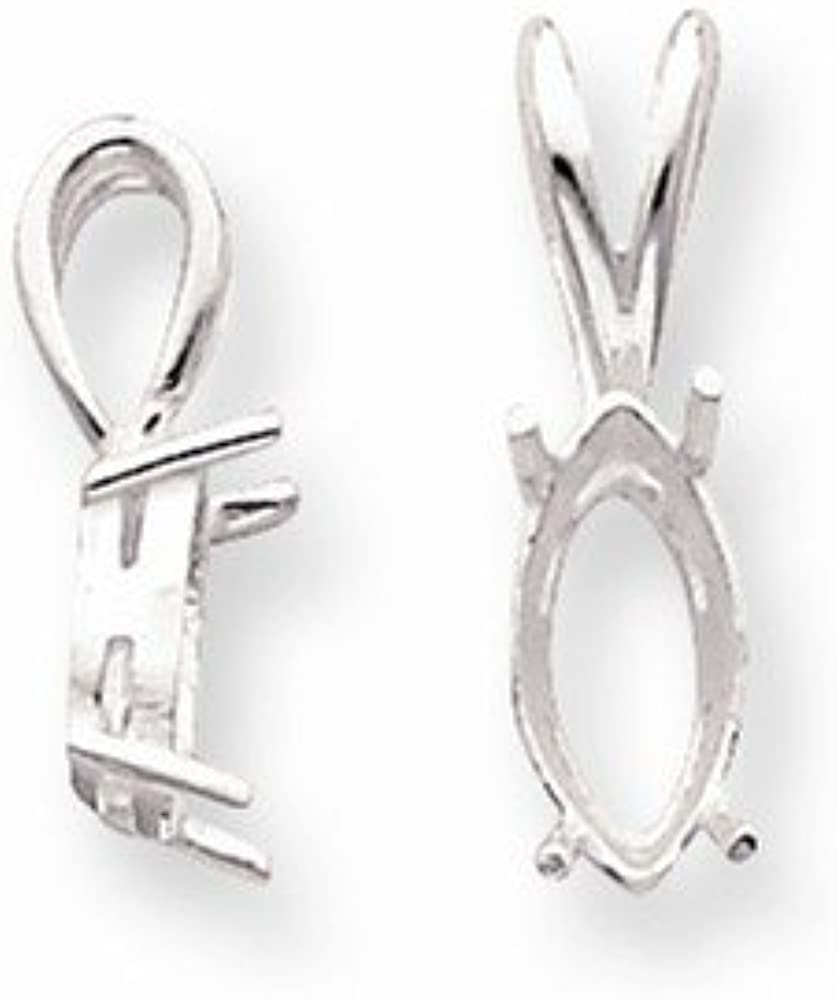sold as single piece Sterling Silver Marquise 4-Prong 6 x 3mm Fixed Bail Pendant Setting