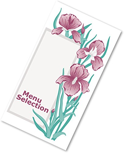 Dinex DX6SM081354 Iris Garden 3 Panel Perforated Printable Menu Form, Heading, 0.01'' Height, 8.5'' Width, 14'' Length, Paper, Green (Pack of 2000) by Dinex