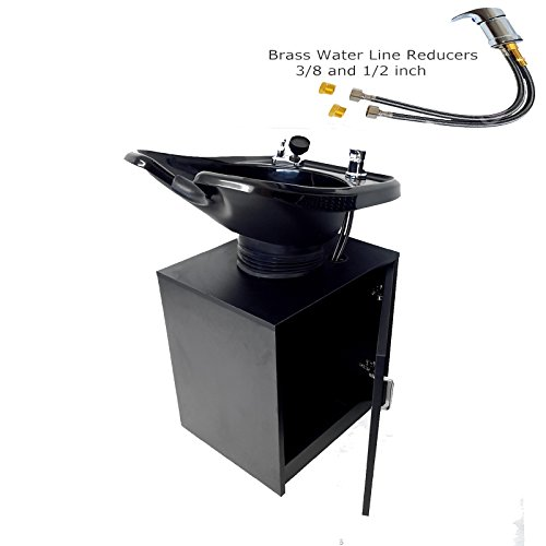 - Tilting Shampoo Bowl, Black Salon Sink with Shampoo Cabinet, Beauty Salon Equipment for Hair Stylists - TLC-13C-T - eMark Beauty