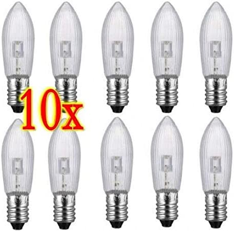 10PCS E10 LED replacement bulbs top candle for fairy Light Bulbs lamp 10-55V New