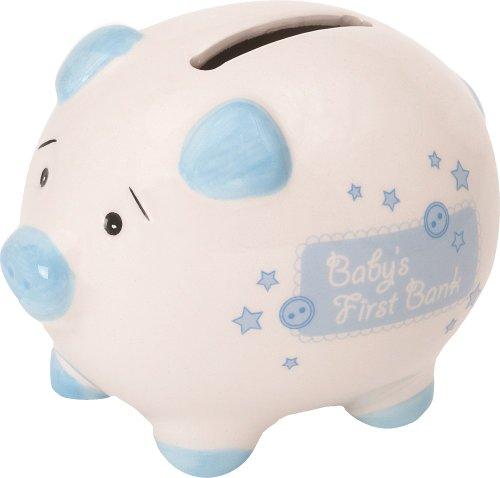 Suki Gifts 10010 Keramik Sparschwein mit Schriftzug - Baby's First Bank, mit Geschenkschachtel, circa 10 cm, weiß/blau