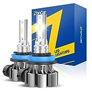 #LightningDeal ZonCar H11 Led Fog Light Bulbs, 6000K Xenon White H16 H8 H9 Fog Light Bulbs Super Bright 4000 Lumens Led Fog Light Replacement Bulbs for Cars High Power IP67 Waterproof Fog Lamp Bulbs, Pack of 2