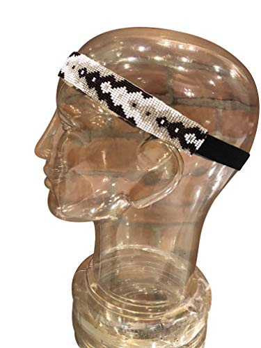 Hand Beaded Headband One-Size-Fits-Most Elastic Band Black White Gold