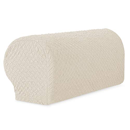 TOYABR Stretch Jacquard Sofa Armrest Cover Seersucker Spandex Armchair Slipcovers Furniture Protector (2 PCS, Beige)