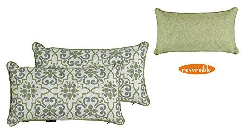 or Green/grey Damask/Piebald Rectangle Toss Pillow, Corded Cushion Set of 2 ()