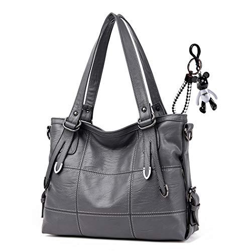(DEERWORD Women's Top-Handle Bags Handbags Hobos Shoulder Bags PU Leather Birkin Convertible Grey)