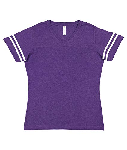 LAT Ladies' Fine Jersey Short Sleeve Football Tee (Vintage Purple/Blended White, Medium)