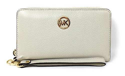 Michael Kors Fulton Large Flat Multifunction Leather Phone Case (Ecru) by Michael Kors