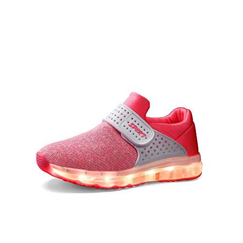VILOCY Unisex Kinder USB Lade LED Aufhellen Jungen Mädchen Leuchtend Sneaker 6 Farbe Pink EU28
