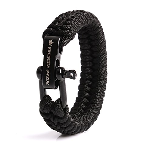 The Friendly Swede Paracord Bracelet with Microcord and D-Shackle - Adjustable Size (Black Medium)
