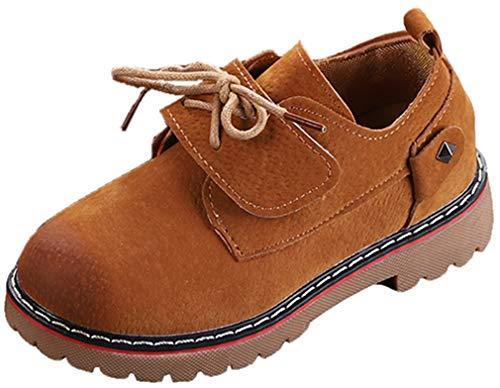 VECJUNIA Kids Fashion Martin Boots Hook-and-Loop Nonslip School-Uniform (Brown, 10.5 M US Little Kid) by VECJUNIA