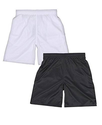 (Galaxy by Harvic Boys Active Mesh Short, White/Charcoal, X-Large 18')