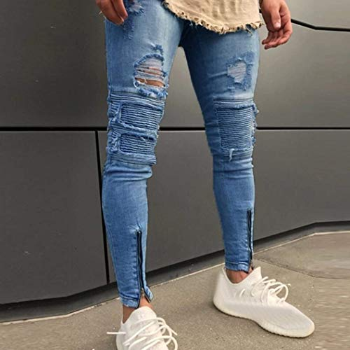 Blau Pants Denim Frayed Zipper Slim Chiusura Da Uomo Estilo Skinny Especial Jeans Biker Strappati Pantaloni xUp67qw
