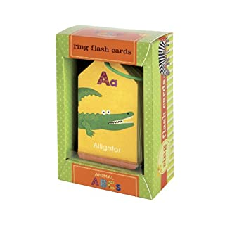 Mudpuppy Animal ABCs Ring Flash Cards for Kids – 26 Double-Sided Alphabet Flash Cards on a Reclosable Ring, Learning Games for Toddlers and Preschoolers, Features Artwork from Clare Beaton