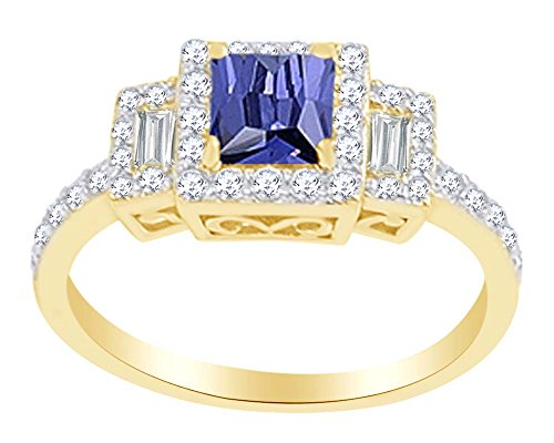 Ring Tanzanite Square (Square Cut Simulated Tanzanite & White Cubic Zirconia Solitaire Ring In 925 Sterling Silver (1.21 cttw) Ring Size-7.5)