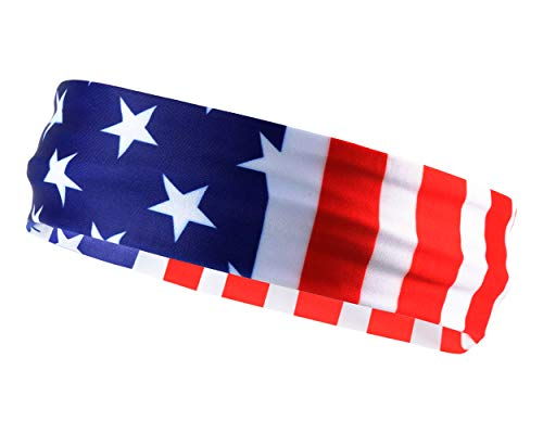 Monkey Movement Patriots American Flag Sports Bandana for Men & Women: Sweat-Wicking Headband for Exercise, Running, Crossfit, Tennis, Football, Volleyball, Athletics, and Any Workout (Headband Exercise Underarmour)