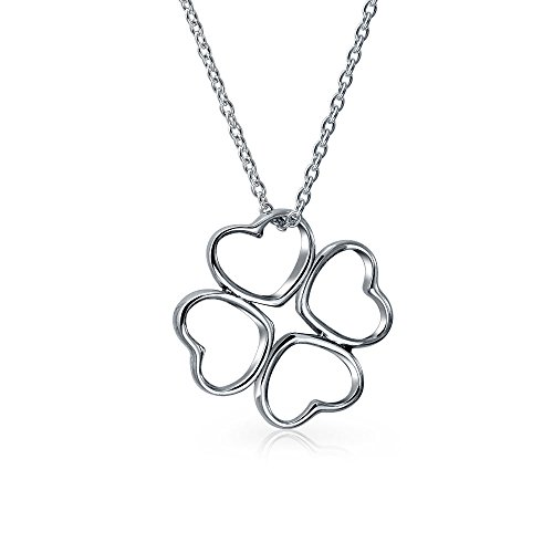 Flower Hearts Good Luck Four Leaf Clover Pendant Necklace For Women For Teen 925 Sterling Silver With Chain - Four Hearts Necklace