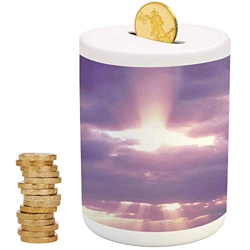 Sky Decor,Ceramic Baby Bank,Printed Ceramic Coin Bank Money Box for Cash Saving,Sunburst on Cloudy Sky Rainy Weather Romantic View Decorating - Savvy Pig Bank