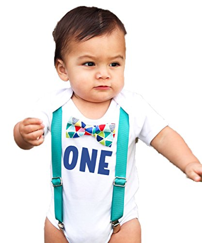 First Birthday Outfits Boy Boy Teal Suspenders Colorful Print Bow Blue One Birthday Outfit Noah's Boytique 12-18 Months - Circus Outfits For Kids
