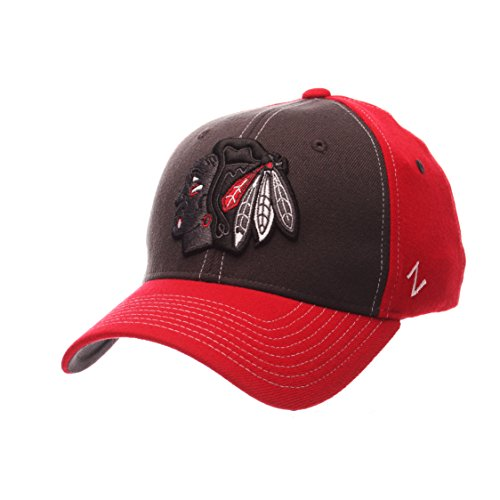 NHL Chicago Blackhawks Men's Powerhouse Z-Fit Hat, X-Large, Grey/Red