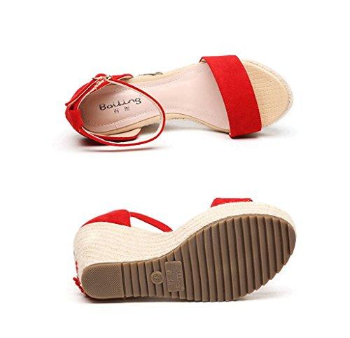 cu a Tama o Rojo bohemio estilo Rojo gruesas zapatos de sandalias Sandalias tobillo 39 Color trenzado A57RRq