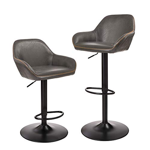 Glitzhome Mid Century Bar Stools Adjustable Swivel Leatherette Seat Bar Chair with Arm Back Support Kitchen Furniture Set of 2, Dark Gray