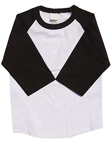 Kids Raglan T Shirts 3/4 Baseball Sleeves Baby (XXS (1-2 Yrs 2T), White / Black)